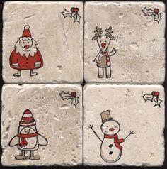Rustic Christmas Tumbled Travertine Mug Coasters Set - Stocking Stuffers