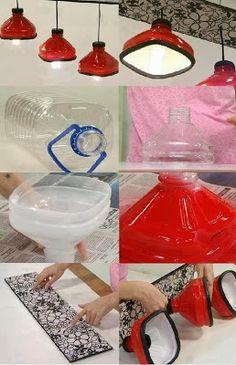 Luminária de Garrafa Plástica  Luminária feita com garrafa de água mineral.  Super moderna e fácil de fazer.