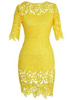 Yellow Hollow Design Round Neck Lace Dress http://www.modlily.com/yellow-hollow-design-round-neck-lace-dress-g120971.html
