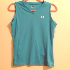 Under Armour heat gear tank Baby blue heat gear sleeveless tank. Only worn twice. Under Armour Tops Muscle Tees