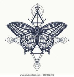 Butterfly tattoo, geometrical style. Beautiful Swallowtail boho t-shirt design. Mystical symbol of freedom, nature, tourism. Realistic butterfly art tattoo for women