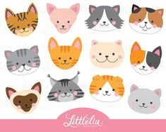 Cat head clipart cat face clipart 16069 by LittleLiaGraphic Shopping Clipart, Clipart Noel, Cat Clipart, Kitty Party, Photo Kawaii, Classe D'art, Gata Marie, Clip Art, How To Make Tshirts