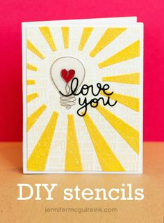 DIY stencils and embossing paste for handmade cards. Video how-to!