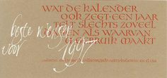 Wenskaart (brede pen, trekpen, verdunde gouache)