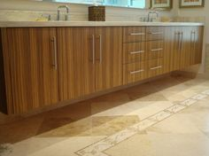 Master Bath Vanity Features Another Example Of Custom Zebra Wood Cabinetry.  What You Canu0027