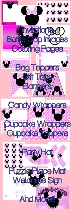 Minnie Mouse Inspired Printable Party Supplies - Mouse Pink - $15.99 : ScrapPNG, Digital Craft Graphics