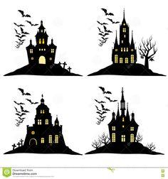 Reeks Van Halloween-kasteel Met Knuppels Zwart Silhouet Op De Heuvel Vector Illustratie Vector Illustratie - Afbeelding: 77881623