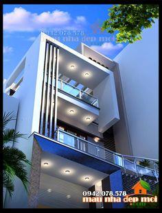 3 Storey House Design, Bungalow House Design, House Front Design, Small House Design, Modern House Design, Building Design, Building A House, Building Ideas, Narrow House Designs