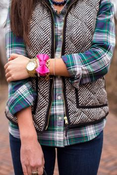 Print vest and plaid shirt fashion pink jewelry autumn bow jeans style vest print outfit plaid preppy back to school teens