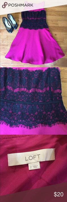 LOFT Pink and Black A-Line Lace Dress LOFT Pink and Black A-Line Lace Dress. Size 2. Great condition, only worn twice. Lace bodice, flounce dress. Deep pink in color. LOFT Dresses