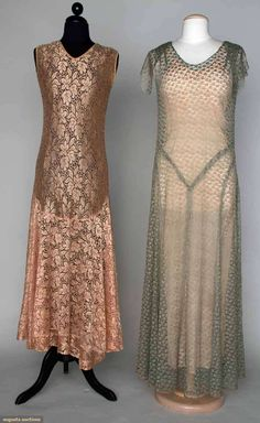 TWO SILK LACE GOWNS, 1930s Both w/ all over small patterned lace, bias cut, sleeveless & w/o slips: 1 mauve, 1 silver gray