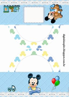 "Personalized ""Mickey Mouse Baby Disney"" Kit for Print - Simple Digital Invitations Festa Mickey Baby, Mickey Mouse Baby Shower, Minnie Baby, Mickey Mouse 1st Birthday, Mickey Party, Minnie Mouse, How To Make An Envelope, Disney Printables, Baby Album"