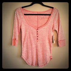 NWT Free People Shirt Brand new shirt with 3/4 length sleeves and a wide scoop neck (would be perfect with a cami underneath). Color: spiced coral. Size small. 70% cotton 30% polyester. Free People Tops