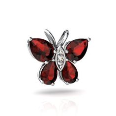 14kt White Gold Garnet and Diamond Pear Butterfly Pendant $259 but no chain, white or yellow gold