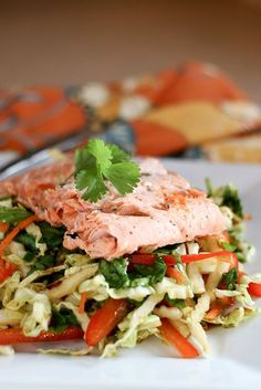 Ginger-Garlic Salmon & Asian Cabbage Salad - http://www.PerrysPlate.com
