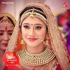 Naira as a beautiful bride Indian Bridal Makeup, Indian Bridal Fashion, Indian Bridal Wear, Wedding Wear, Wedding Bride, Wedding Shoot, Plus Tv, Bride Look, Bridal Lehenga