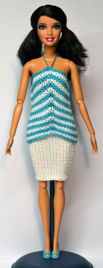 Barbie Knitting Patterns, Barbie Clothes Patterns, Crochet Barbie Clothes, Doll Patterns, Clothing Patterns, Barbie Dress, Barbie Doll, Barbie Wardrobe, Spool Knitting