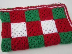 Crocheted Christmas Baby Granny Square Afghan
