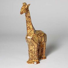 Mayco Elements Glazes and Designer Liner for a funky giraffe. #maycocolors