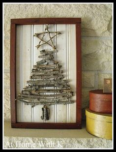 Someday Crafts: Twig Christmas Tree and Star - the frame sets this off nicely, but i'm wondering how it would look with distressed wood background, perhaps pallet section, painted in contrasting color. might consider some decorations for the tree too, but i think natural things would be best. tiny pinecones, greenery bits, feathers, berries, semi-precious stones, dried flowers .... love the idea. :)  (TA: pinning to rustic Christmas as well as twig crafts) - #twig #crafts #Christmas - pb†