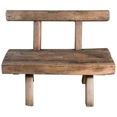 Chunky Rustic Wooden Bench with Back, circa 1920