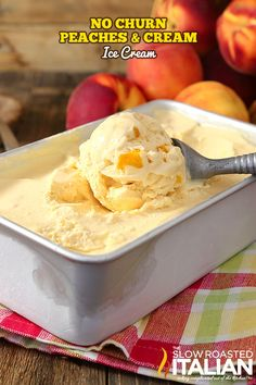 No-Churn Peaches & Cream Ice Cream is rich, thick and amazingly delicious. And it does NOT use sweetened condensed milk. This glorious ice cream is speckled with fresh peaches and it's so good you may never get store bought again! This simple Peach Ice Cream Recipe, Homemade Ice Cream, Ice Cream Recipes, Ice Cream Treats, Ice Cream Desserts, Frozen Desserts, Fruit Ice Cream, Frozen Treats, The Slow Roasted Italian