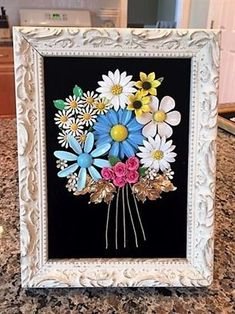 Framed Art Flower Bouquet Handmade with Vintage/Costume Jewelry  #VintageJewelry #broochesdiyrecycling
