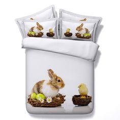 Comforter bedding sets 3D Rabbit chicken egg duvet cover bed sheet quilt super King size queen twin single bedspread linen 5PCS #Affiliate