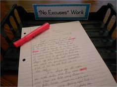 An idea to hold students accountable to spell sight words or No Excuse Words correctly in all student work. Highlight incorrect spellings and return work to students who need to correct and return to the No Excuses bin. Firm Foundations in Education