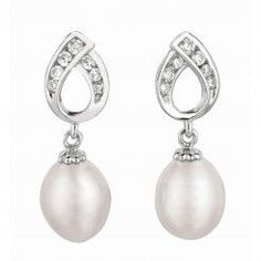 Silver with Rhodium Finish Shiny White Pearl Fancy Tear Drop Cubic Zirconia Earring via ------------ Pearls and All Jewelry ------------ Call now to order! 1-914-455-0991. Click on the image to see more!