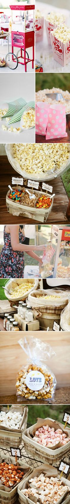 Popcorn Bar, Wedding Ideas ONLY IF I HAD THE MACHINE TO POP IT HOT AND FRESH!