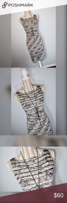 "🎀Adrianna Papell Dress🎀 Black, off-white, and grey ruffled body con dress by Adrianna Papel. Size 4. Sheer mesh at neckline.   Closure: Zipper in the back  Material: Shell-95% Polyester 5% Spandex, Combo-100% Polyester, Lining-100% Polyester   Measurements  Bust: 32"" lying flat, stretches to 39""  Shoulder to Hem Length: 37.5""  Strap Width: 1.75"" Adrianna Papell Dresses"