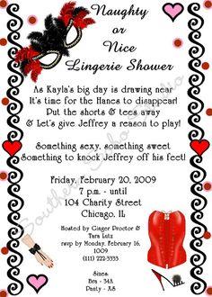 lingerie shower invite wording