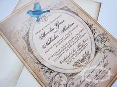 Love Birds Vintage Wedding Invitation RSVP Amelia Collection