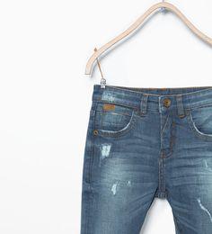 ZARA - ENFANTS - Pantalon en denim slim délavé