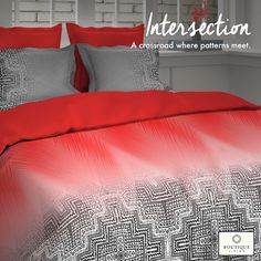 The #Intersection collection from #BoutiqueLiving offers 300TC fabrics with ultra sheen and lustre! #Modern #Trending #Design #Luxury #Bedding