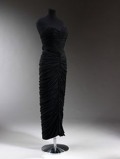 Elsa Schiaparelli, Strapless Evening Dress of Black Jersey, Ruched & Gathered from Top to Bottom. Paris, c. 1949.