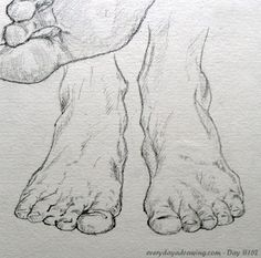 """Drawing of feet from the front"" - Davy on Everyday a Drawing"