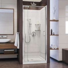 DreamLine Flex 32 in. x 32 in. Pivot Shower Kit Door in Chrome with Center Drain White Acrylic Base and Back Walls Kit by The Home Depot Framed Shower Door, Frameless Shower Doors, Home Depot, Dreamline Shower, Shower Base, Shower Kits, Shower Ideas, Steam Showers, Floor Patterns