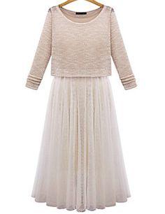 Women's Casual Micro-elastic Long Sleeve Midi Dress (Mesh Cotton)