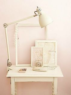 pale pink walls and white furniture. another shade or two lighter on the pink and i'll really like it! Murs Roses, Anglepoise Lamp, Rosa Rose, Pink Room, Pink Walls, Color Walls, White Furniture, Vintage Furniture, Furniture Ideas