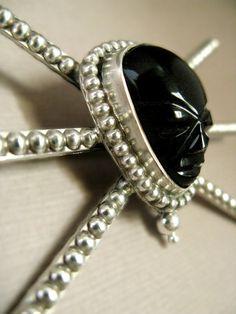 Sterling Silver Black Onyx Spider Brooch / Vintage Mexico