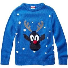 Baby Toddler Younger Boys Rudolph Red Nose Reindeer Character Christmas Novelty Knitted Jumper