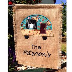 New Camping Personalized Garden Flag by TSCEmbroidery on Etsy, $25.00