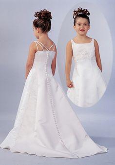 a-line Square Chapel Train Satin Bridesmaid dress