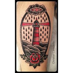 Awesome lighthouse, Black & Gray & red