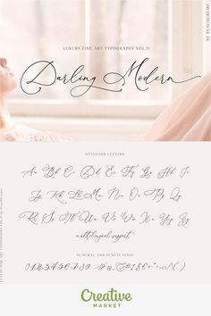 Darling Modern // Luxury Font Darling Modern is a crème de la crème modern calligraphy font with handwritten, sophisticated flows. It is perfect for branding, wedding invites and cards. Each lowercase letter has 6 different calligraphy flourishes. Modern Calligraphy Alphabet, Hand Lettering Alphabet, Modern Typography, Modern Caligraphy, Calligraphy Letters, Wedding Fonts, Wedding Invitations, Wedding Calligraphy Fonts, Luxury Font