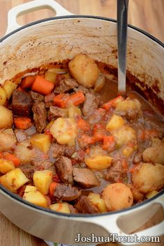 Hearty Beef Stew Recipe ~ The sweetness of the stewed tomatoes really gives it a nice flavor and the tapioca makes the sauce rich and thick.