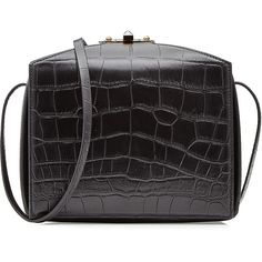 Alexander McQueen Embossed Leather Shoulder Bag (156,290 INR) ❤ liked on Polyvore featuring bags, handbags, shoulder bags, black, leather shoulder bag, structured handbag, embossed leather purse, genuine leather purse and leather purse