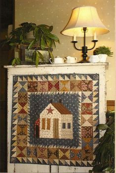 Primitive Folk Art Quilt Pattern: THIS OLD FARMHOUSE (Wall ...